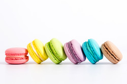 Sweet and colourful french macaroons or macaron on white background, Dessert..jpg