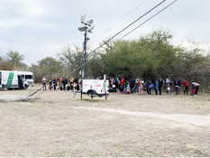 A large group of immigrants detained