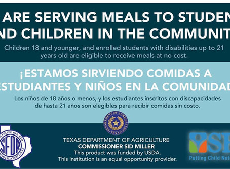 USDA Extends Waiver to Provide no cost Meals to Students