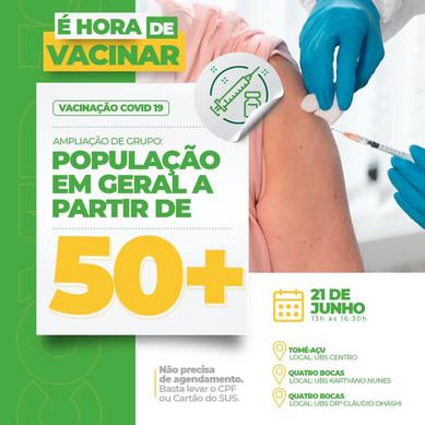 A prefeitura municipal de Tomé-Açu, iniciou a vacinação contra a Covid-19, por idade, 50 anos ou +