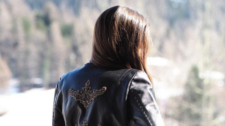 alexa lewis Embroidered Leather Jacket