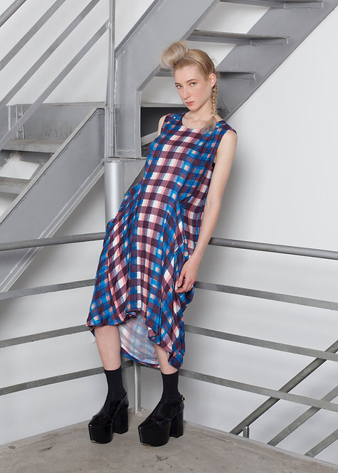 PLAID DRAPED DRESS