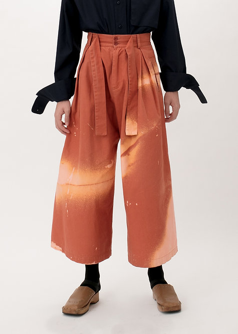 CROPPED BLEACHED WIDE TROUSERS