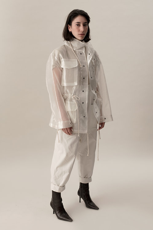 ORGANZA FIELD COAT - WHITE