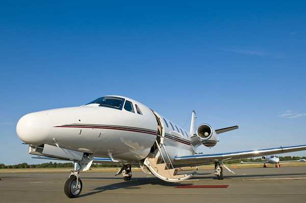 Corporate private luxury jet at airport