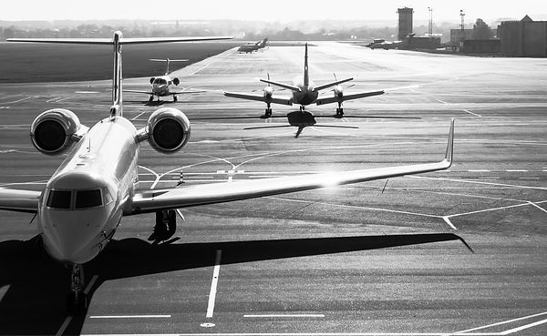 Private jet planes  on the landing line.