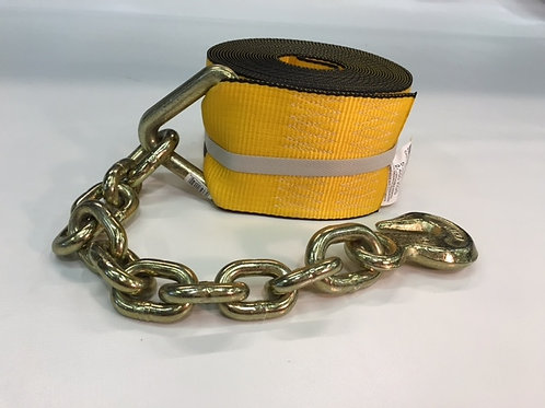 "WINCH STRAP - 4"" x 30' with chain extension"