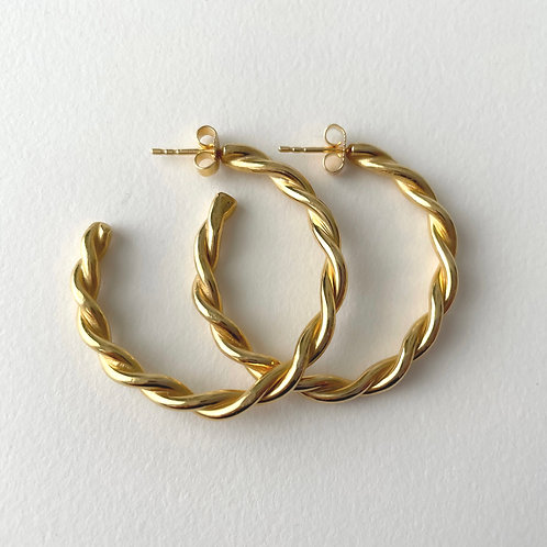 Twisted Hoop Earrings 14k