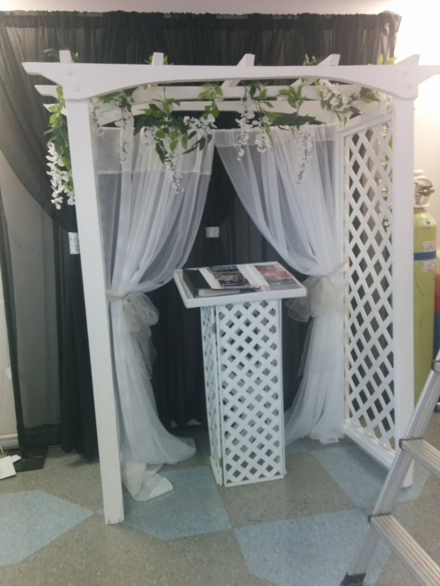 White Wicker Podium - Showroom Example