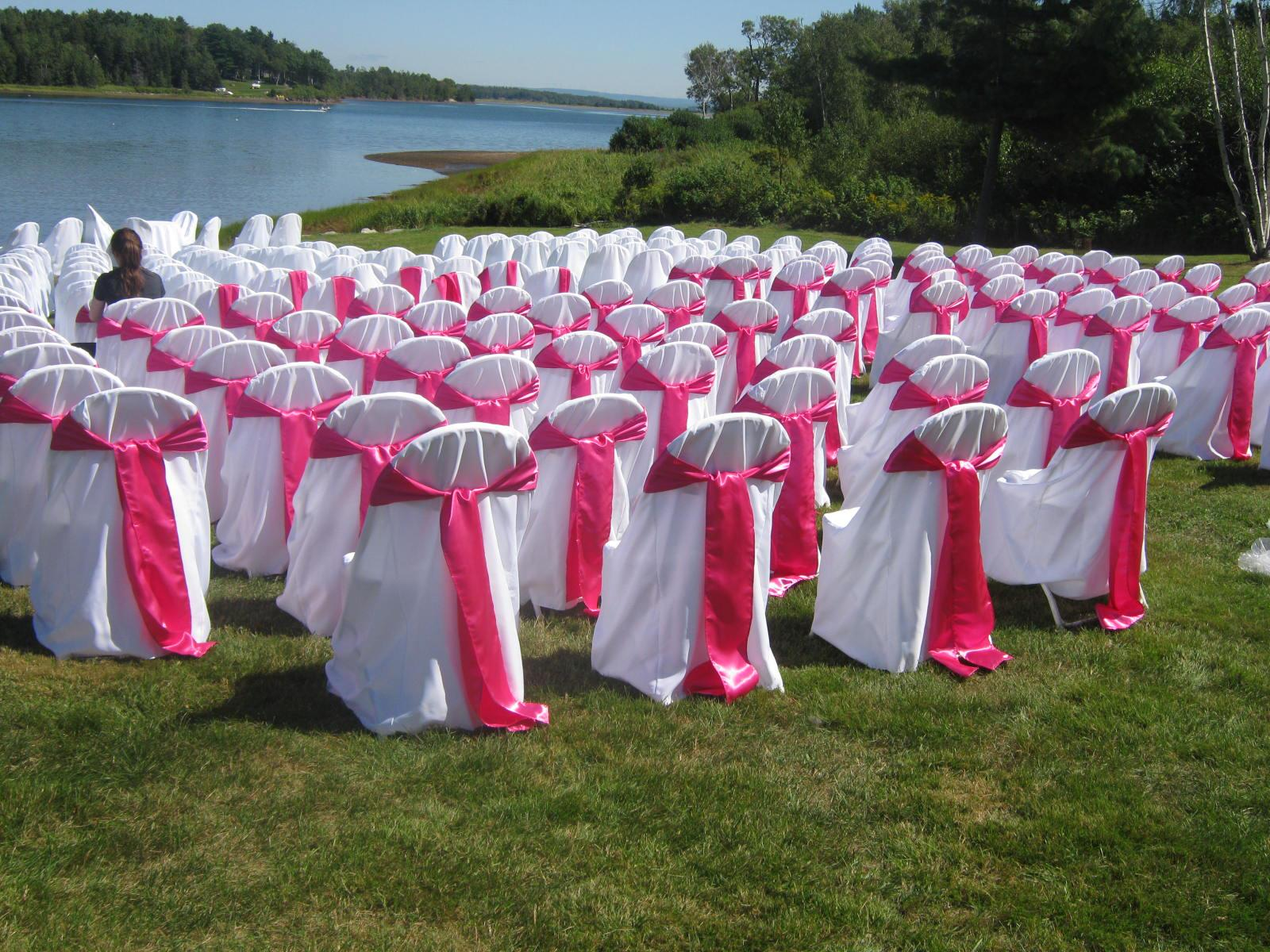 Fitted Chair Covers & Pink Chair Sash - Ceremony Arrangement