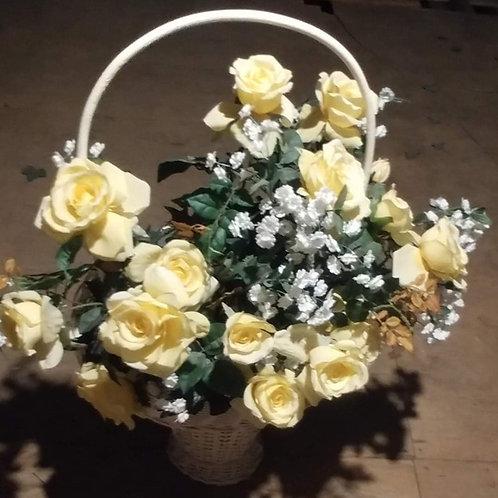 White & Yellow Flower Basket