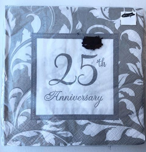 """""""25th Anniversary"""" Silver Paper Napkins - 25 Pack"""