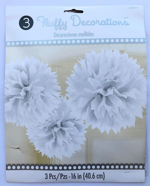 White Pompoms - Hanging Decorations - 3 Pack