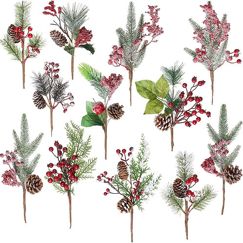 Holly & Pinecone Sprig