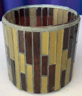 Gold & Brown Glass Votive Holder