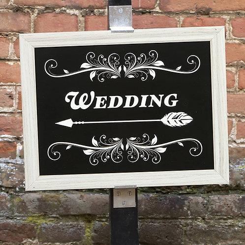 """Wedding"" ~ Black / White Frame Plaque"