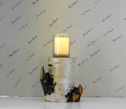 Real Birch Wood Candle Holder