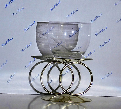 Gold Ring Stand w/Clear Dish