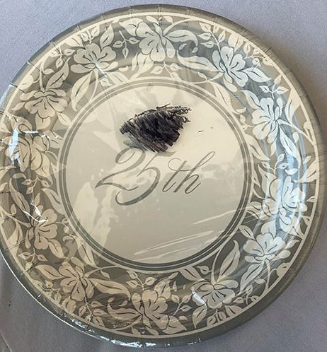 Silver Anniversary Paper Plates - 10 Pack