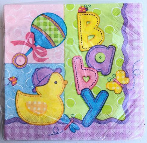 """""""Baby"""" Shower Duck Paper Napkins - 25 Pack"""