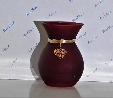 Candy Dish ~ Red Oval w/Gold Heart