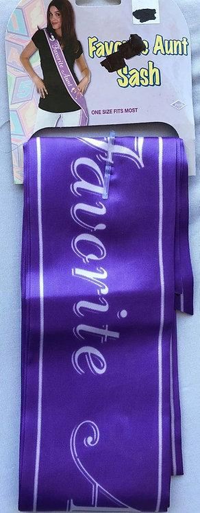 """""""Favorite Aunt"""" Purple Fabric Sash"""