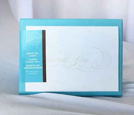 "Silver Foil ""Thank You"" Cards - 50 Pack"