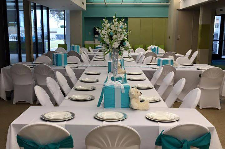 White & Turquoise Event Setup