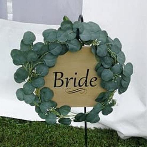 """Bride"" / ""Groom"" ~ Pine Plaque"