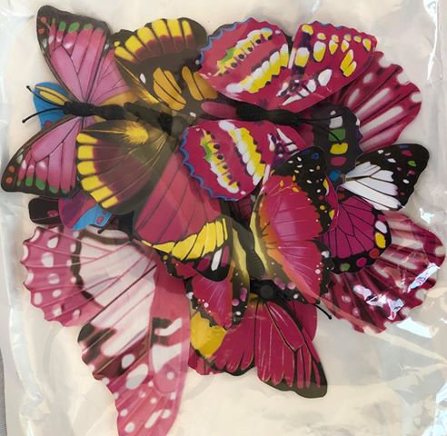 Red/Pink Paper Butterflies - 20 Multi-Sized Pack