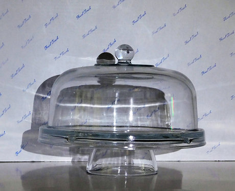"""12"""" Glass Cake Stand w/Cover"""