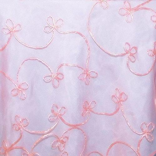 Swag ~ Pink Organza w/Pink Ribbon Swirls