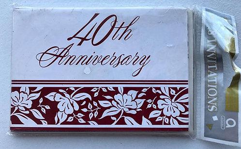 40th Anniversary Invitations - 8 Pack