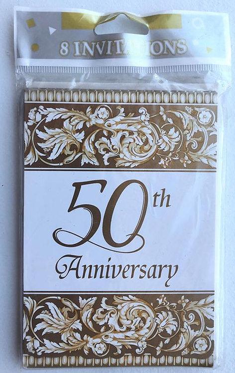 50th Anniversary Invitations - 8 Pack