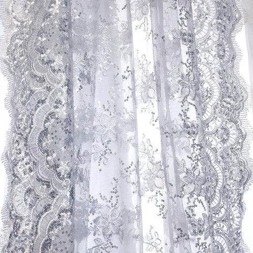 8' Long ~ White Lace Sheer