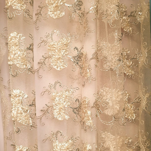 8' Long ~ Gold Lace Sheer