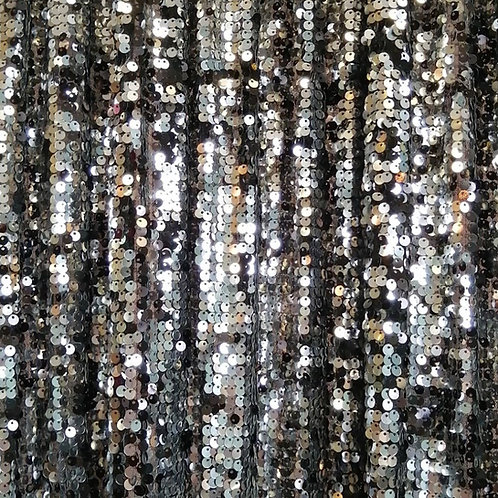 8' Long ~ Black & Silver SequinSheer