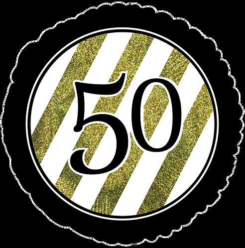 """50"" Gold & White Strips ~ 18 Inch"