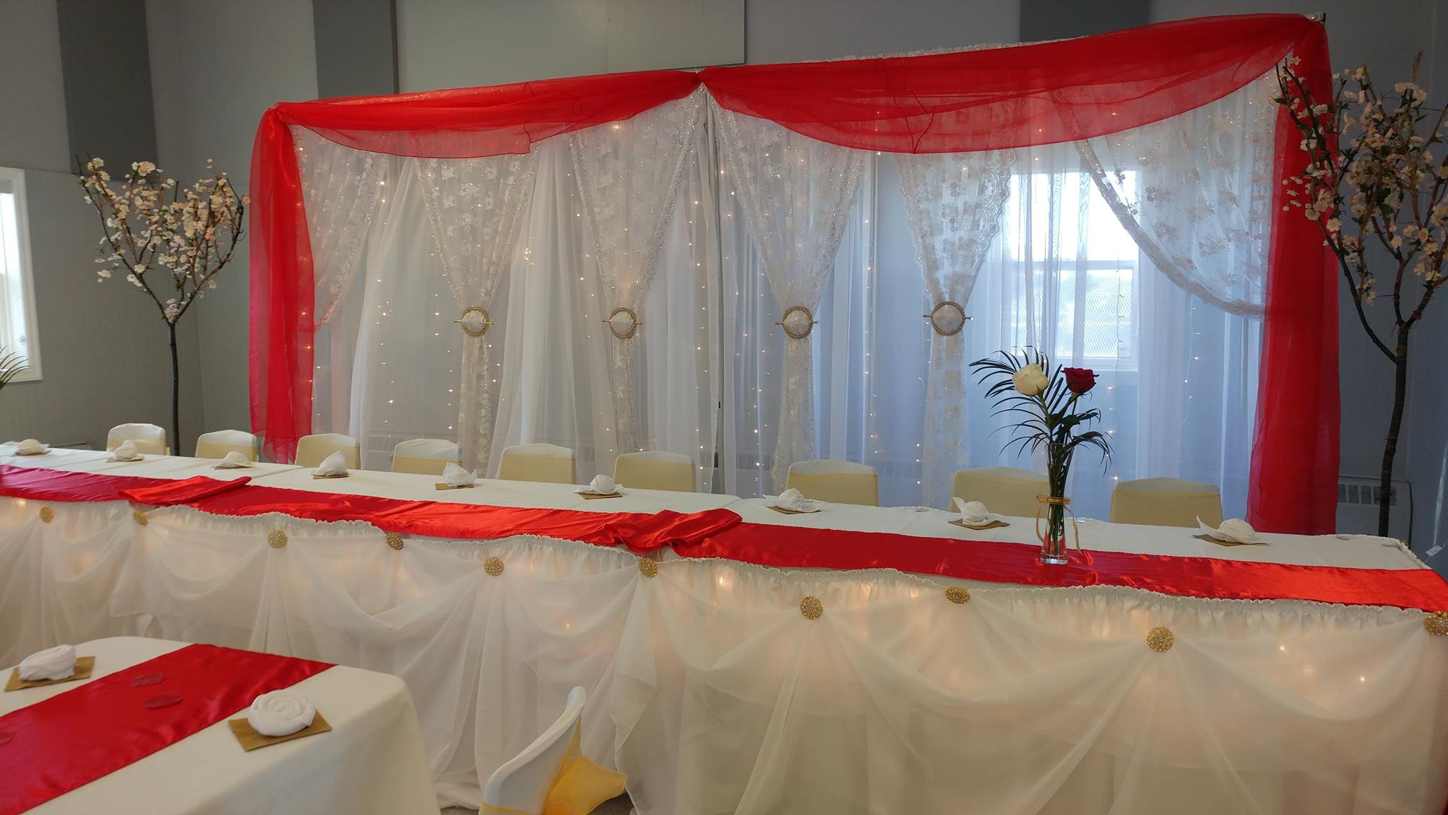 20ft Double Tier (White & White Lace) & Red Swag Backdrop - North End Rec