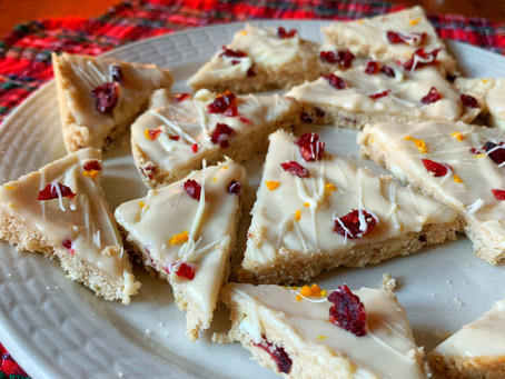 white chocolate cranberry orange shortbread bars