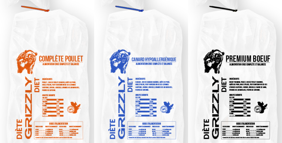 Grizzly - Forfait triple plaisir - 2 poulet, 2 canard, 2 Boeuf premium - 25lbs