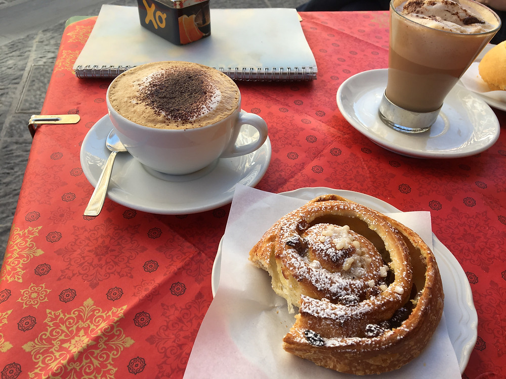 Italy's breakfast of champions: cappuccino and pastry.