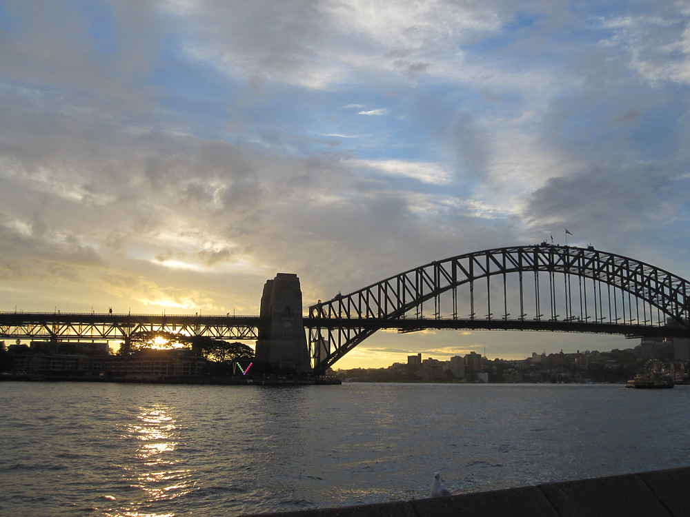 The sun sets on Sydney, Australia