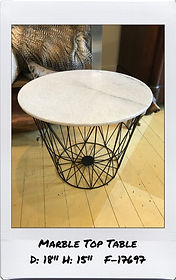 morble top round end table