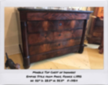 empire marble top chest of drawers