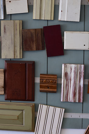 Stain and paint finish samples from C & S Refinishing and Upholstery