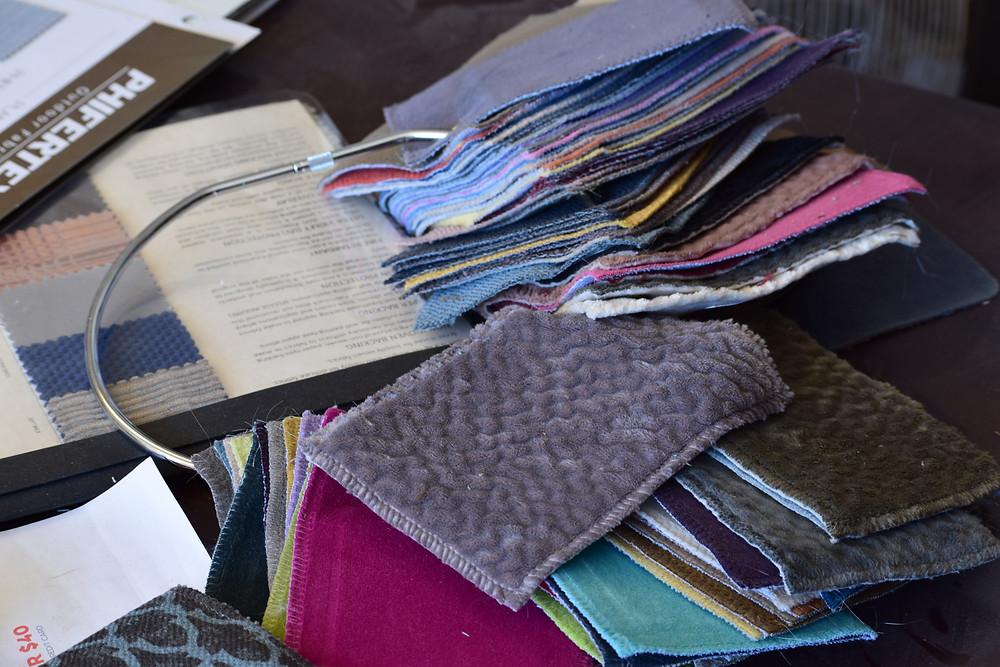 Some of our samples of velvet upholstery fabrics