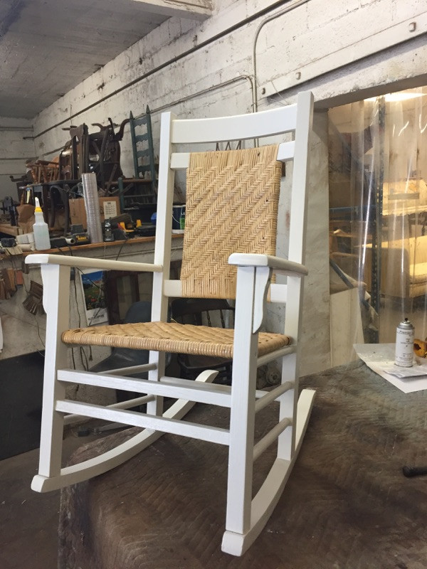 sanded, repaired, painted, and recaned, this chair will rock a fourth generation.  A perfect gift--back-story, small scale, and modern finish.