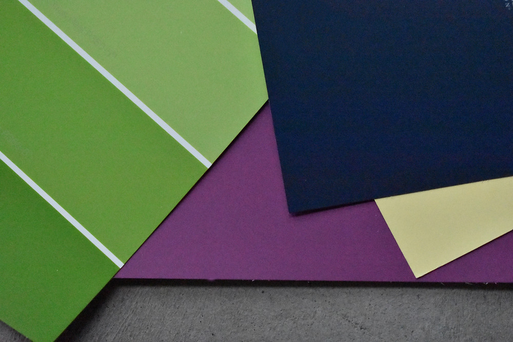 fresh greens, purple, navy and buttery yellow paint samples