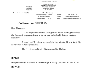 Letter from the BOM - re Virus COVID-19 concerns